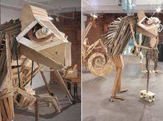 scrap wood sculpture scrap wood nd v duals playful and larger than scrap
