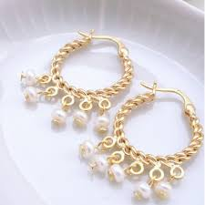 gold hoop earrings gold hoop earrings with dainty pearls jl heart online