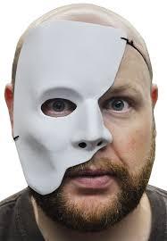 mens masks phantom of the opera half white mask mardi gras masquerade