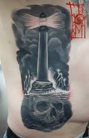 skull with lighthouse tattoo on side rib by tomyslav