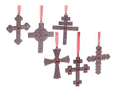 pacconi set of 6 style cross ornaments with