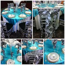 decorations for a banquet with turquoise black and