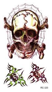 skull spider web tattoos stickers fashion waterproof