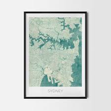 sydney gift map art prints and posters home decor gifts