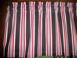 Kitchen Curtains On Sale by Black White Red Gray Striped Stripes Waverly Fabric Topper Curtain
