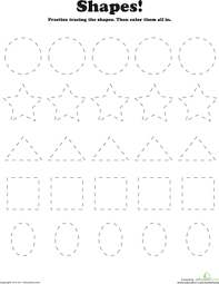 trace and color shapes worksheet education com