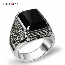 black stones rings images Online cheap black obsidian ring vintage 100 real pure 925 jpg