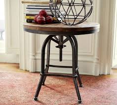 round industrial side table top iron base weldon side table