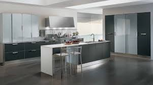 use white stools and dark stainless steel kitchen island to modern kitchen island designs berloni america