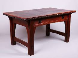 Gustav Stickley Desk Early Gustav Stickley Leather Top Desk Circa 1901 California