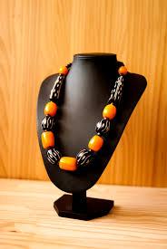 orange beaded necklace images The veras black and orange beaded necklace with white masai designs jpg