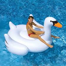 siege de piscine gonflable 190 cm géant swan gonflable tour sur piscine jouet flotteur