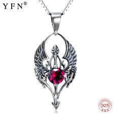 vintage silver pendant necklace images Genuine 925 sterling silver devil angel charm necklace gothic jpg