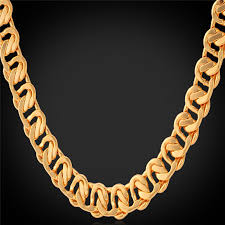 mens gold curb necklace images Collare curb link chain gold rose gold silver color necklace men jpg