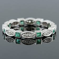 emerald bands rings images 728 220 antique reproduction square emerald with micro pave set jpg