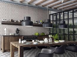 Backsplashes Industrial Kitchen With Mosaic Porcelain Backsplash - Porcelain backsplash