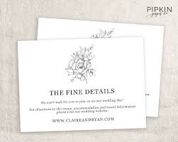 Accommodation Cards For Wedding Invitations Wedding Details Card Wedding Info Card Wedding Enclosure