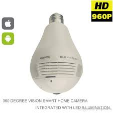 light bulb security system 1080p 360 degree fisheye panoramic wifi wireless p2p hidden network