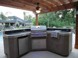 fancy small outdoor kitchen decoration using dark grey tile