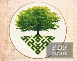 cross stitch tree etsy