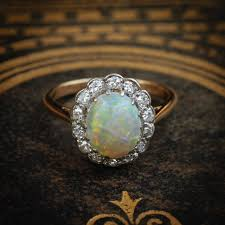 vintage opal engagement rings magical vintage opal and diamond cluster ring fetheray