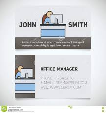 business card print template with office manager logo stock vector