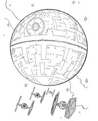 death star and tie fighters coloring page free printable