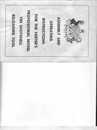 herter u0027s 72n shotshell reloading tool instructions 1960s