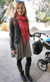 away from blue dresses scarves and leather boots for winter