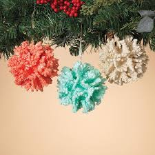styrofoam colored coral ornament set of 3