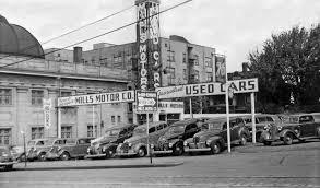 image result for vintage used car lots black white images