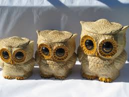 owl kitchen canisters owls decorations hippie vintage handmade ceramic kitchen