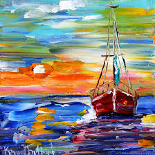 fine art print sailboat at sunset prints from oil painting
