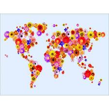 printable world map a1 flower world map art canvas print
