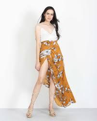 maxi skirt floral maxi skirt in orange handmade harem skirts dresses