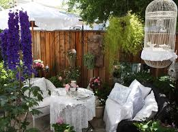 fence decor ideas patio shabby chic style with hanging basket