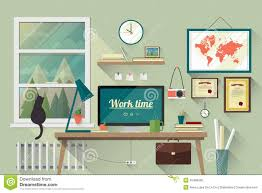 flat design illustration of the modern workplace stock vector