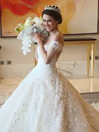 wedding dress with beading buy gown shoulder chapel lace wedding dress with