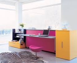 winsome design of colorful desk to decorate bedroom near wide