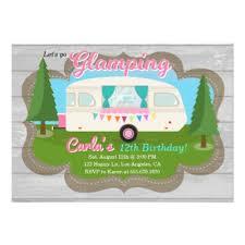 glamping birthday party invitation zazzle com