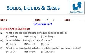 solids liquids and gases worksheets for class 4 students