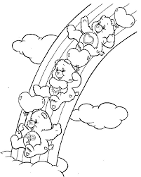 rainbow care bears playing slides together coloring page rainbow