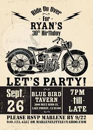 motorcycle birthday party invitation poster vintage by socalcrafty