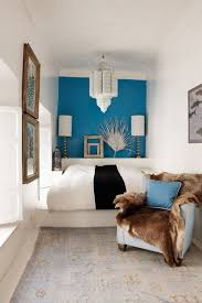 Compact Bedroom Designs Small Bedroom Design With A Blue Feature Wall And Modern Lighting