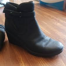 ugg australia emalie 1008017 black leather ankle waterproof 28 ugg shoes ugg emalie womens wedge boots from amanda s