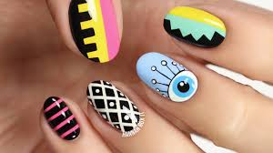festival eye summer nail art freehand youtube