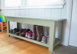 chic grey colored diy shoe bench designed in simple style served