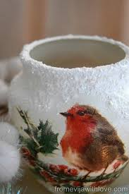 decoupage blog tutorial christmas candle holder red robin decoupage decoupage napkins