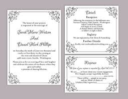 wedding template invitation diy wedding invitation template set editable word file instant