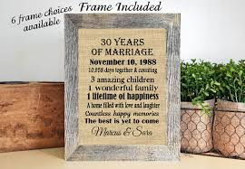 30th anniversary gifts framed personalized 30th anniversary gifts 30th wedding